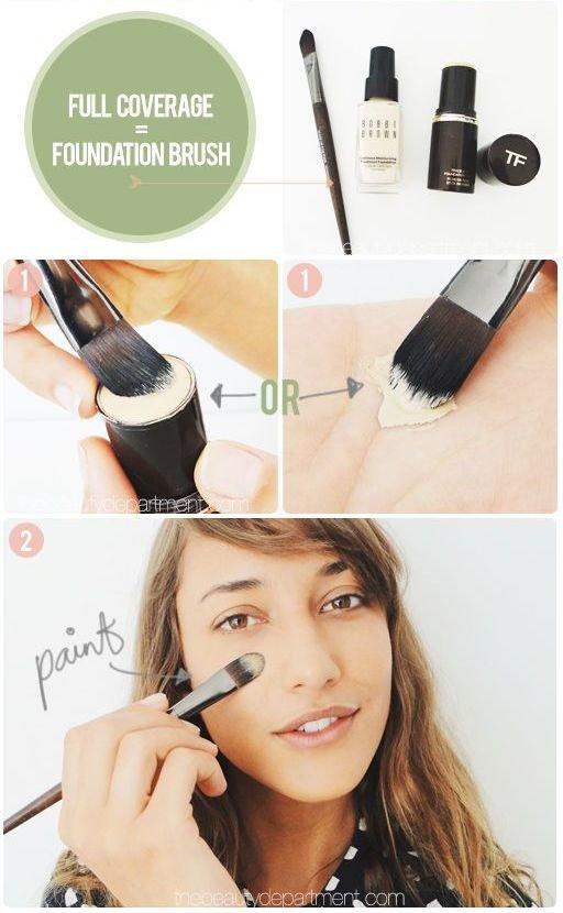 flat foundation brush, how to use
