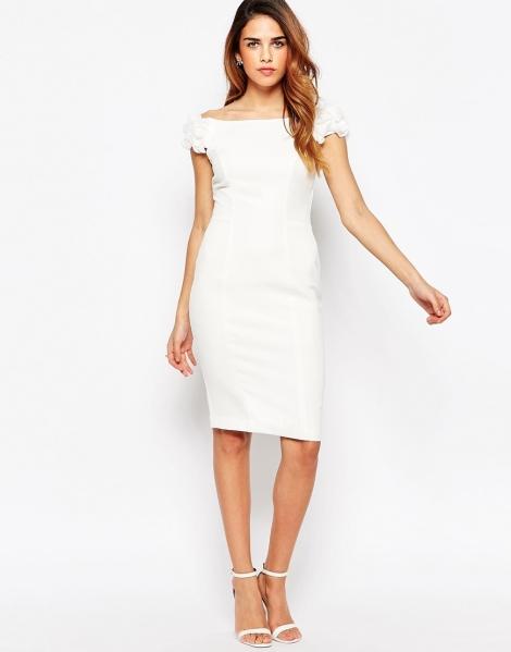white knee length graduation dress 2015