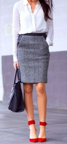 Workwear Ideas: Grey Pencil Skirt, Red Shoes| Life of Lala | https://lifeoflala.wordpress.com/