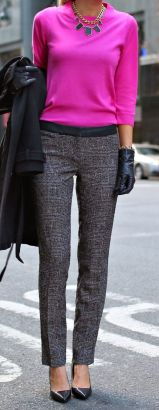 Workwear Ideas: Pink Jumper/Sweater, Grey Trousers | Life of Lala https://lifeoflala.wordpress.com/