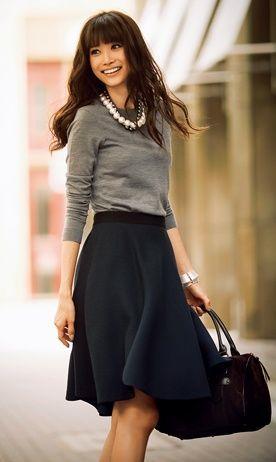 Workwear Ideas: Black Skirt, Grey Sweater  Life of Lala   https://lifeoflala.wordpress.com/